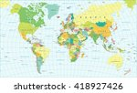 colored world map   borders ... | Shutterstock .eps vector #418927426