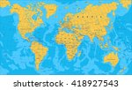 yellow blue world map   borders ... | Shutterstock .eps vector #418927543
