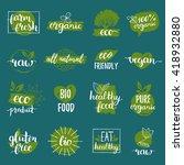 vector eco  organic  bio logos... | Shutterstock .eps vector #418932880