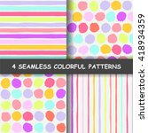 set of four colorful seamless...   Shutterstock .eps vector #418934359
