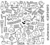 hand drawn medicine icon set.... | Shutterstock .eps vector #418934893