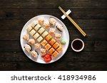 japanese food restaurant  sushi ... | Shutterstock . vector #418934986