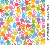 baby hand prints colorful... | Shutterstock .eps vector #418937536