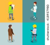 different professions flat 3d... | Shutterstock .eps vector #418937980