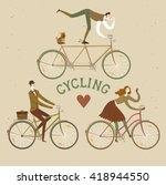 city style elegant cyclists set.... | Shutterstock .eps vector #418944550