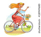 beautiful girl rides a bicycle... | Shutterstock .eps vector #418949680
