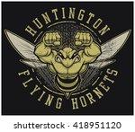 """retro """"hornets"""" athletic design ...   Shutterstock .eps vector #418951120"""