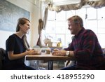 father and daughter meeting in... | Shutterstock . vector #418955290