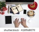 top view office style desk | Shutterstock . vector #418968070