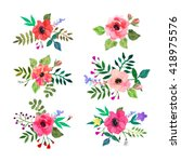 vector flowers set. colorful... | Shutterstock .eps vector #418975576