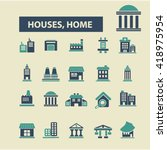 houses  home icons  | Shutterstock .eps vector #418975954