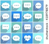 speech bubles flat icons with...