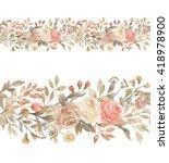 floral horizontal seamless... | Shutterstock . vector #418978900