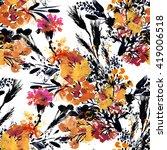 summer watercolor meadow... | Shutterstock . vector #419006518