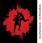 muay thai  thai boxing  action... | Shutterstock .eps vector #419022826