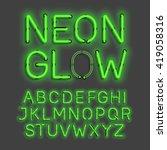 neon glow alphabet vector... | Shutterstock .eps vector #419058316