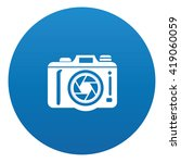 camera icon design on blue...