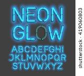 neon glow alphabet vector... | Shutterstock .eps vector #419060803