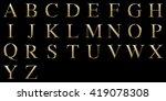 golden matte letter a z ... | Shutterstock . vector #419078308
