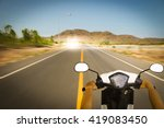 driver riding motorcycle on an... | Shutterstock . vector #419083450