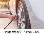 man checking air pressure and... | Shutterstock . vector #419083528