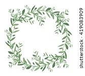 watercolor olive wreath.... | Shutterstock .eps vector #419083909