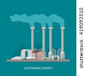 geothermal power plant and...   Shutterstock .eps vector #419092510
