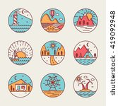 set of 9 flat line art travel... | Shutterstock .eps vector #419092948