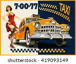 Taxi Card With Pin Up Girl And...