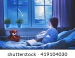 cute child girl sitting at the... | Shutterstock . vector #419104030
