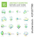 geometric leaf icon set. thin... | Shutterstock .eps vector #419107780