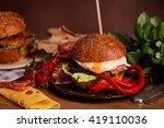 american dinner with hamburger | Shutterstock . vector #419110036