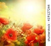field of bright red poppy... | Shutterstock . vector #419127244