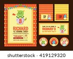 cute dino birthday element boy... | Shutterstock .eps vector #419129320