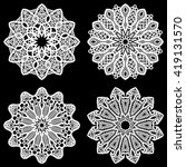 Set of design elements, lace round paper doily, paper  snowflake, greeting element package, template for cutting, vector illustrations