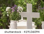 Christian Cross On A Grave Wit...