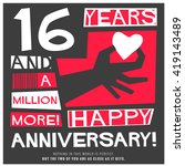 16 years happy anniversary ... | Shutterstock .eps vector #419143489