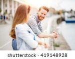 romantic couple flirting and... | Shutterstock . vector #419148928