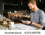 businessman holding tablet in... | Shutterstock . vector #419148958