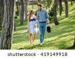 couple enjoying romantic walk...   Shutterstock . vector #419149918