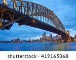 sydney harbour bridge and opera ... | Shutterstock . vector #419165368