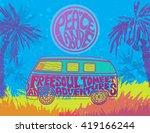hippie vintage car a mini van.... | Shutterstock .eps vector #419166244