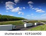 trucks on the road | Shutterstock . vector #419166400