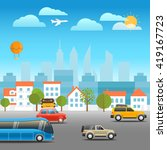 different vehicles on a road.... | Shutterstock .eps vector #419167723