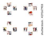 achievement idea standing...   Shutterstock . vector #419167903