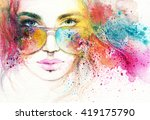 style woman with sunglasses.... | Shutterstock . vector #419175790