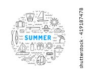 summer icon outline set for... | Shutterstock .eps vector #419187478