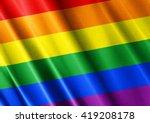 Lgbt Waving Flag Close