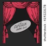 curtain sketch. vector set.... | Shutterstock .eps vector #419223178
