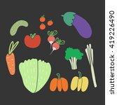 set flat vegetables on black...   Shutterstock .eps vector #419226490